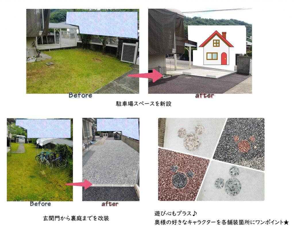 【民間工事】駐車場新設と庭の改装をさせていただきました